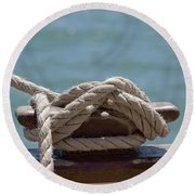 Ships Rigging I Round Beach Towel