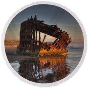 Shipwreck At Sunset Round Beach Towel