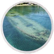 Shipwreck In Big Tub Harbour Round Beach Towel