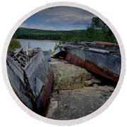 Shipwrecks At Neys Provincial Park No.3 Round Beach Towel