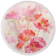 Shirley Poppies Round Beach Towel