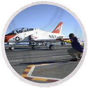 Shooter Signals To The Pilot Of A T-45c Round Beach Towel