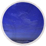 Shooting Star Over Bar Harbor Round Beach Towel