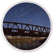 Shooting Star Over Bridge Round Beach Towel