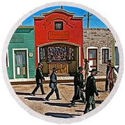 Shootout At The Ok Corral In Tombstone-arizona Round Beach Towel