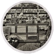 Shopping At The General Store Round Beach Towel by Priscilla Burgers