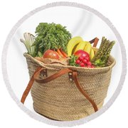 Shopping For Orrganic Fruit And Vegetables  Round Beach Towel