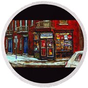 Shops And Streets Of St Henri- Montreal Paintings Depanneur Coca Cola Winter City Scenes Round Beach Towel