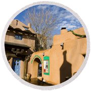Shops At Santa Fe New Mexico Round Beach Towel