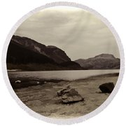 Shore Of A Loch In The Scottish Highlands Round Beach Towel