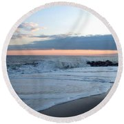Shoreline  And Waves At Cape May Round Beach Towel