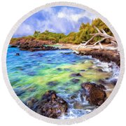 Shoreline At Puako Round Beach Towel