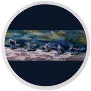 Shoreline Birds Iv Round Beach Towel