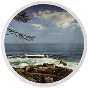 Shoreline View In Acadia National Park Round Beach Towel