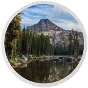 Shoreline View Of Anthony Lake Round Beach Towel