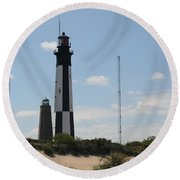 Short And Tall Cape Henry Lights Round Beach Towel