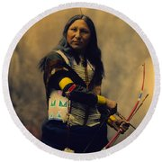 Shout At Oglala Sioux  Round Beach Towel