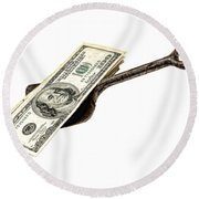 Shovel Of Dollar Round Beach Towel