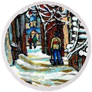 Shovelling Out After January Storm Verdun Streets Clad In Winter Whites Montreal Painting C Spandau Round Beach Towel