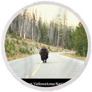 Showdown At Yellowstone Round Beach Towel