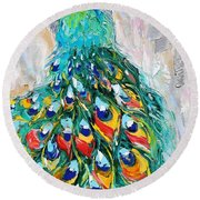 Showy Peacock Round Beach Towel
