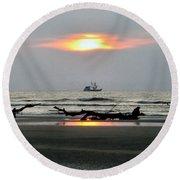 Shrimp Boat At Sunrise Round Beach Towel
