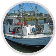 Shrimp Boat - Southern Catch Round Beach Towel