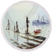 Shrimp Boat With Evening Lights Round Beach Towel