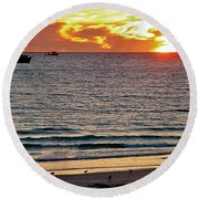 Shrimp Boats And Gulls Over Sea Of Cortez At Sunset From Playa Bonita Beach-mexico Round Beach Towel