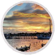 Shrimp Boats At Sunset Round Beach Towel by Benanne Stiens