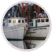 Shrimp Boats Reflecting Round Beach Towel