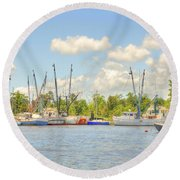 Shrimp Boats In Georgetown Sc Round Beach Towel
