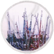 Shrimpers On The Shem Round Beach Towel