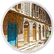 Shutters And Doors Along The Street In Bhaktapur-city Of Devotees-nepal  Round Beach Towel