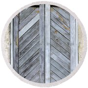 Weathered Wooden Shutters Round Beach Towel