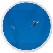 Shuttle To The Moon Round Beach Towel
