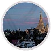 Shwedagon Pagoda In Yangon Myanmar Round Beach Towel