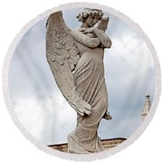 Shy Angel Round Beach Towel