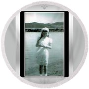 Shy Girl With New Easter Dress Round Beach Towel