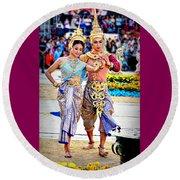 Siam Culture Dance Round Beach Towel