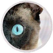 Siamese Cat Art - Half The Story Round Beach Towel
