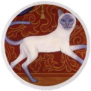 Siamese Cat Runner Round Beach Towel