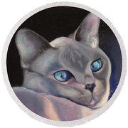 Siamese In Blue Round Beach Towel
