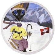 Siamese Queen Of Switzerland Round Beach Towel