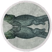 Siamese Twins Blue And Green Crocodiles On Sage Green Stone Round Beach Towel