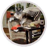 Funny Pet A Wine Bibbing Kitty  Round Beach Towel