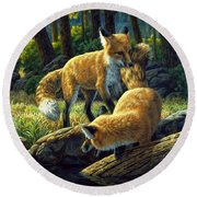 Red Foxes - Sibling Rivalry Round Beach Towel