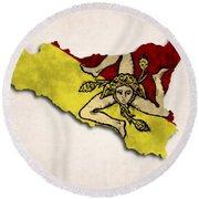 Sicily Map Art With Flag Design Round Beach Towel