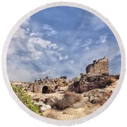 Side Ancient Archaeological Remains Round Beach Towel