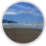 Side By Side Along The Beach Round Beach Towel